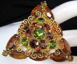 Crystal & Rhinestone Filigree Triangle Brooch Pin Topaz - $64.50
