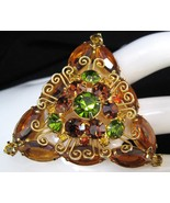 Crystal & Rhinestone Filigree Triangle Brooch Pin Topaz - $64.50