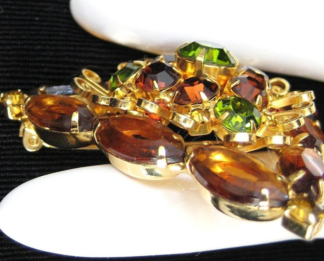 Crystal & Rhinestone Filigree Triangle Brooch Pin Topaz
