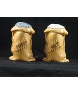 Vintage Burlap Bag Ceramic Salt Pepper Shakers - $14.99