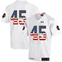 Men's Notre Dame Romeo Okwara 45 NCAA USA Flag Jersey White - $52.24