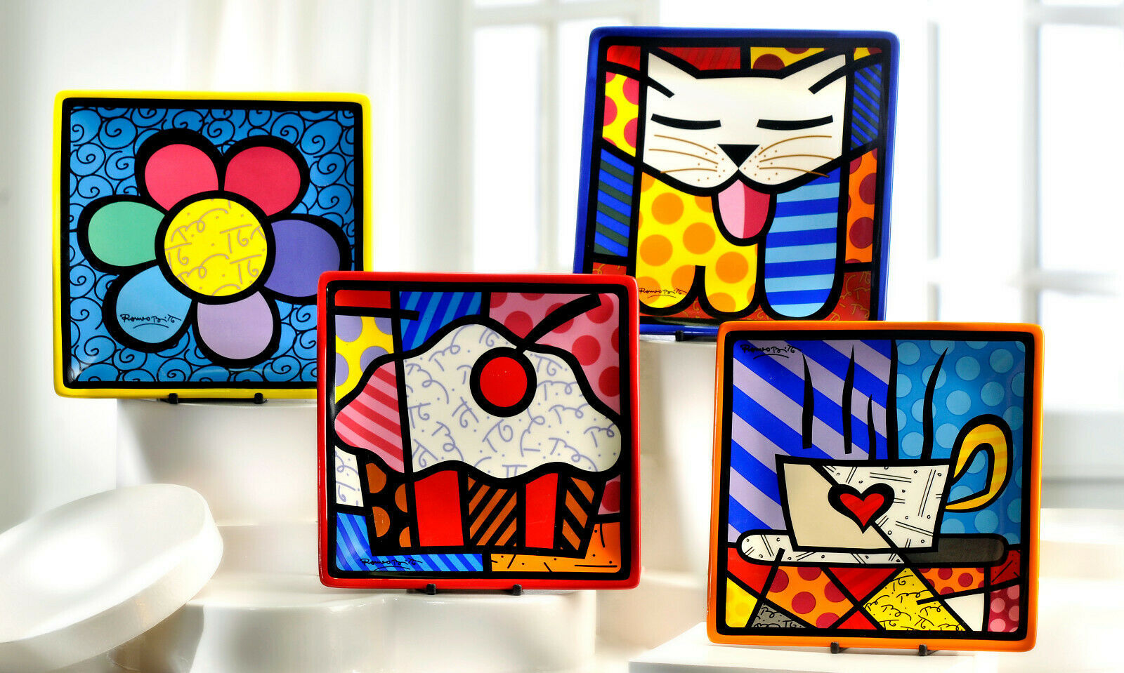 Romero Britto Square Side Plates 3 Designs Available Dolomite Vibrant Color