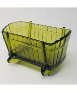 Vintage 1960s Avocado Green Glass Baby Rocking Bassinet Crib Planter - $18.95