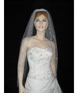 1 Tier White Bridal Fingertip Cut Edge Bead Wedding Veil v21 - $23.99