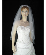2 Tier Fingertip Swarovski Crystals Pearls Wedding Veil v19 - $22.99