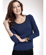 NWT High elastic round collar Blue/Black strip woman's shirt - $24.00