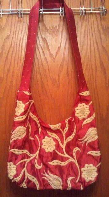 Hobo Gypsy Style Red and Gold Shoulder Bag