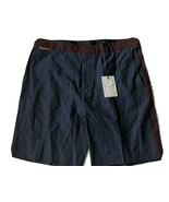 NWT MARC JACOBS Men's Shorts 36/52 Italy Cotton Linen Blend Navy burgundy - $67.89