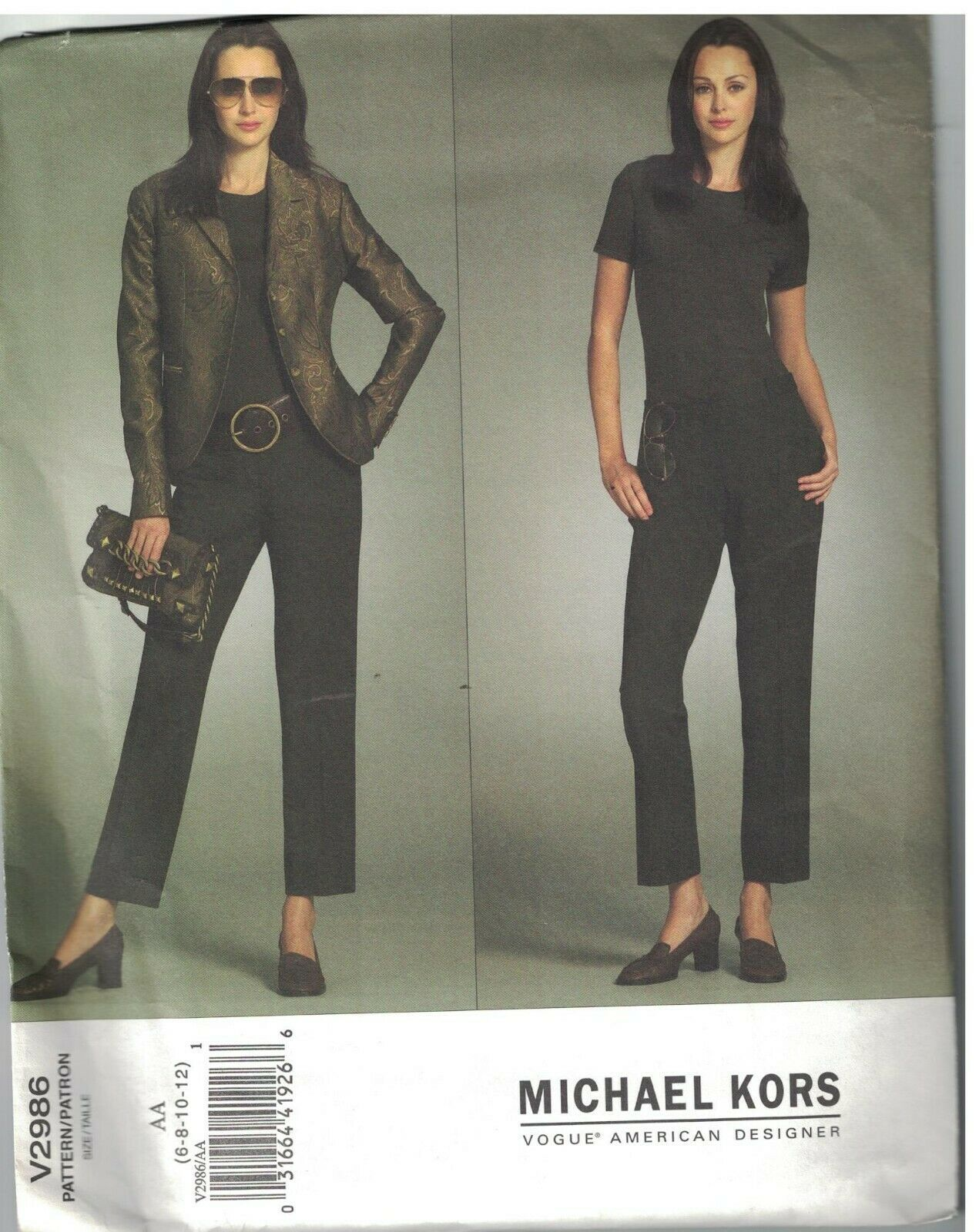 2986 UNCUT Vogue Sewing Pattern Misses Lined Close Fitting Jacket Pants Kors oop