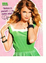Taylor Swift teen magazine pinup clipping green dress M magazine - $2.00