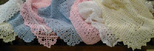 Handmade baby blanket afghan or lapghan: white, 36x42, washable