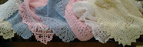 Handmade rosebud baby blanket afghan or lapghan: pink, 28x34, washable