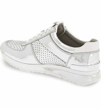 Michael Kors Women's Allie Wrap Trainer Lasered Metallic Sneakers Shoes Silver image 2