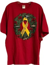 Support Our Troops Christmas Wreath Military Theme Red Graphic T Shirt M... - $12.99