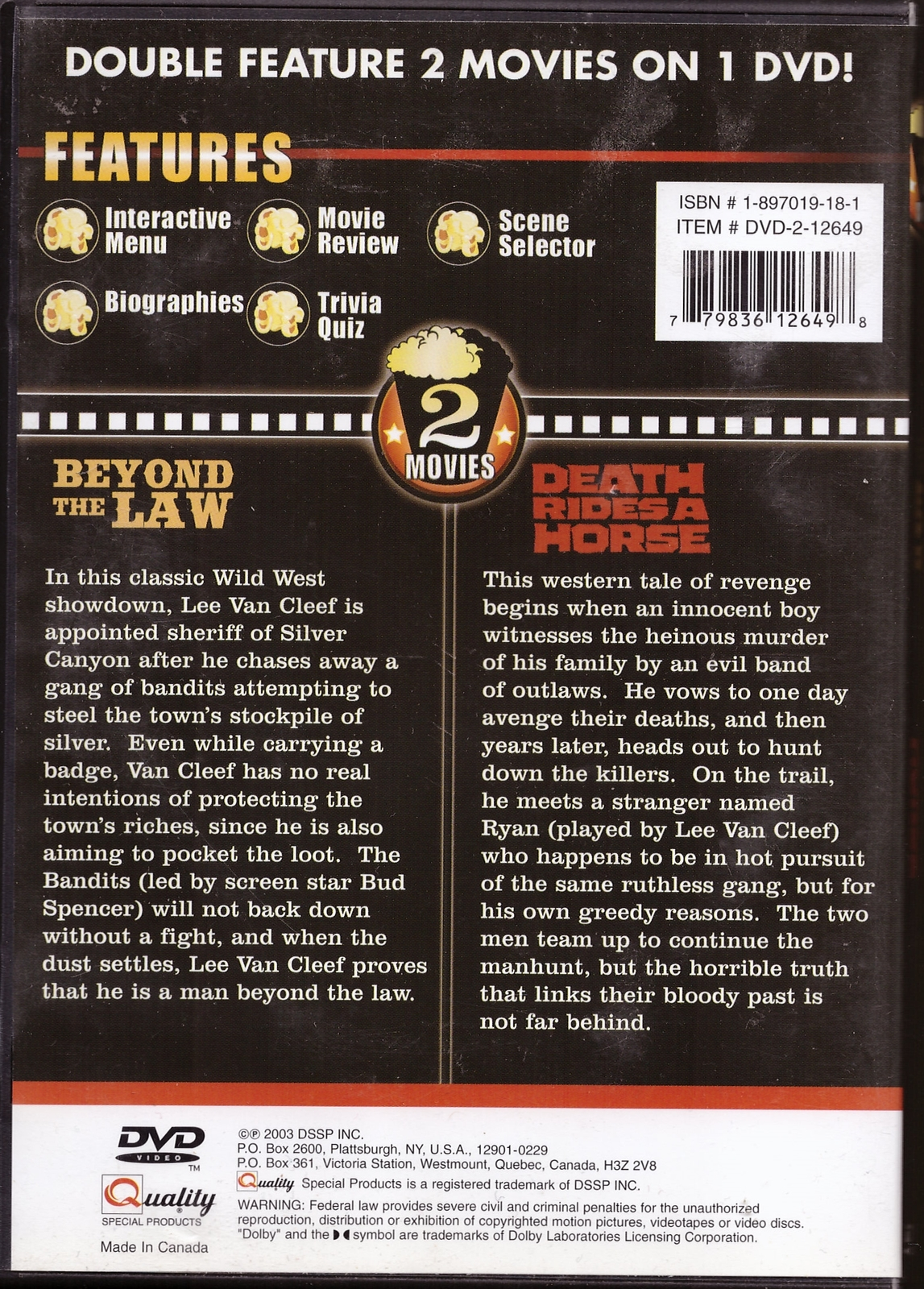 Beyond the Law, Death Rides a Horse DVD Double Feature Lee Van Cleef Western