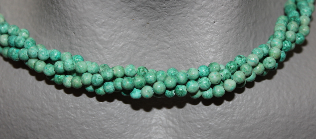 "Primary image for  THE TWIST BEADS ERA!  36"" NECKLACE OF 4 MM ROUND BEADS GREEN BLENDS"