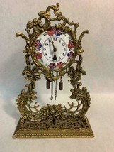 Vintage German Globe Dresser Shelf Clock Gold-toned Metal Floral Wind Up... - $148.49