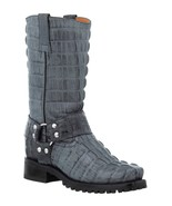 Mens Motorcycle Crocodile Boots Gray Biker Harness Square Toe Botas - $189.99