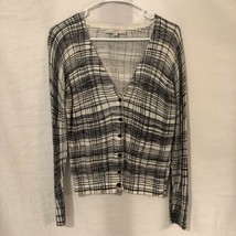 Ann Taylor LOFT Womens Medium Petite Cardigan Sweater Black White Cotton Grid  - $11.98