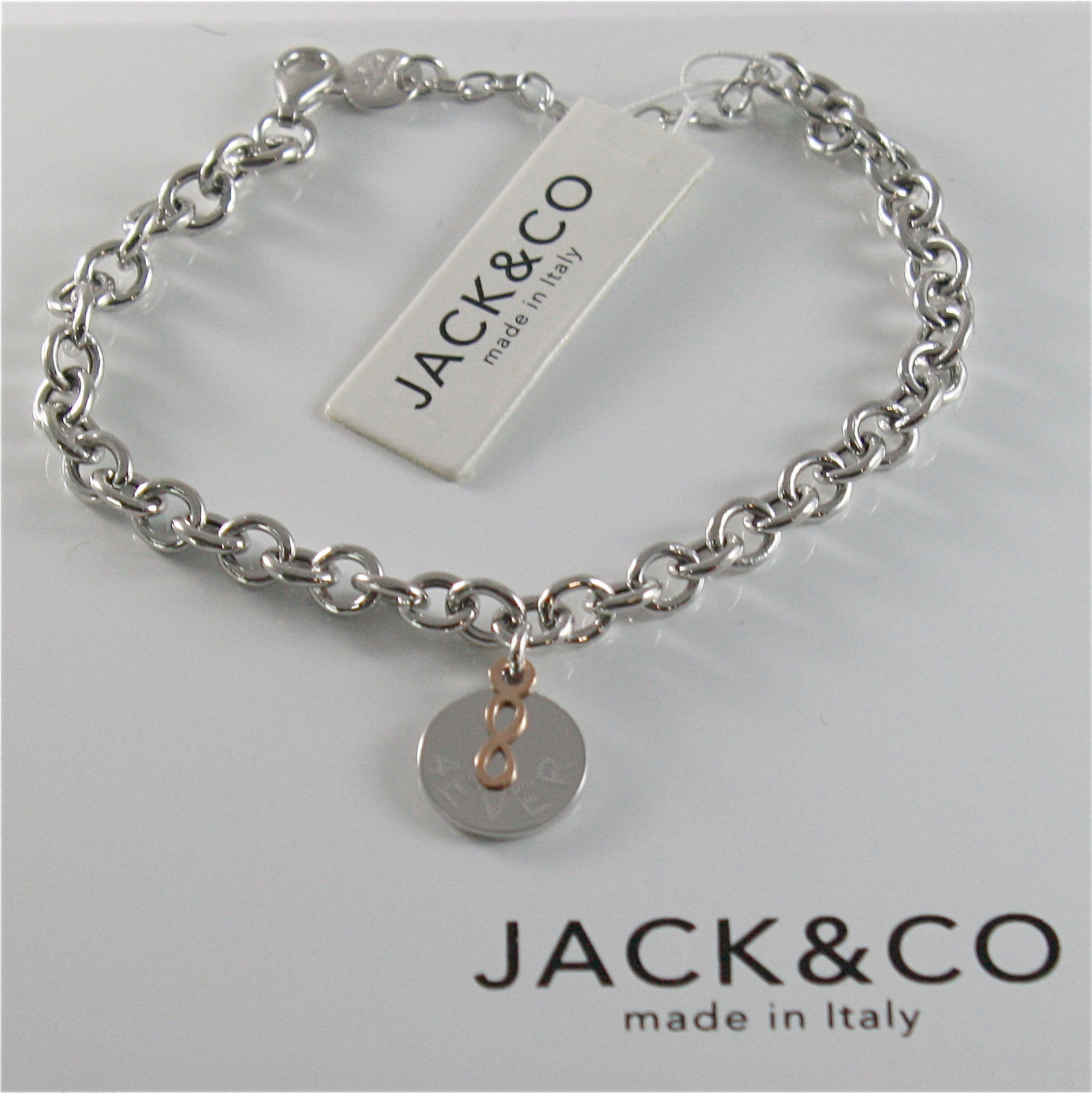 925 RHODIUM SILVER JACK&CO BRACELET WITH 9KT ROSE GOLD INFINITY  MADE IN ITALY