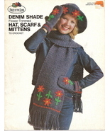 Denim Shade Flower Trimmed Hat  Scarf & Mittens to Crochet - $4.00