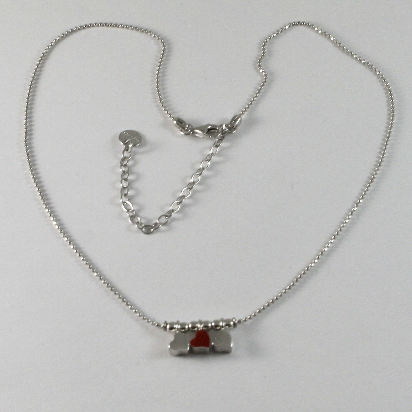 Silver Necklace 925 Jack&co with Hearts Transparencies and Enamelled Red JCN0642