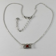 Silver Necklace 925 Jack&co with Hearts Transparencies and Enamelled Red JCN0642 image 1
