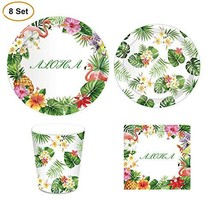 8 Sets Flamingo Tableware Set, Tropical Hawaiian Flamingo Party Supplies... - $10.82