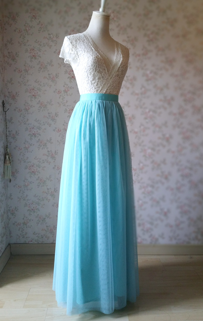 Full tulle skirt wedding blue 22 3