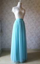 Blue Tulle Maxi Skirt Full Length Tulle Skirt Blue Themed Wedding Skirt Outfit image 3