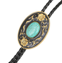 """Flowers Turquoise BOLO Tie Wedding Necklace PU Leather Rope 40"""" Western ... - $15.48"""