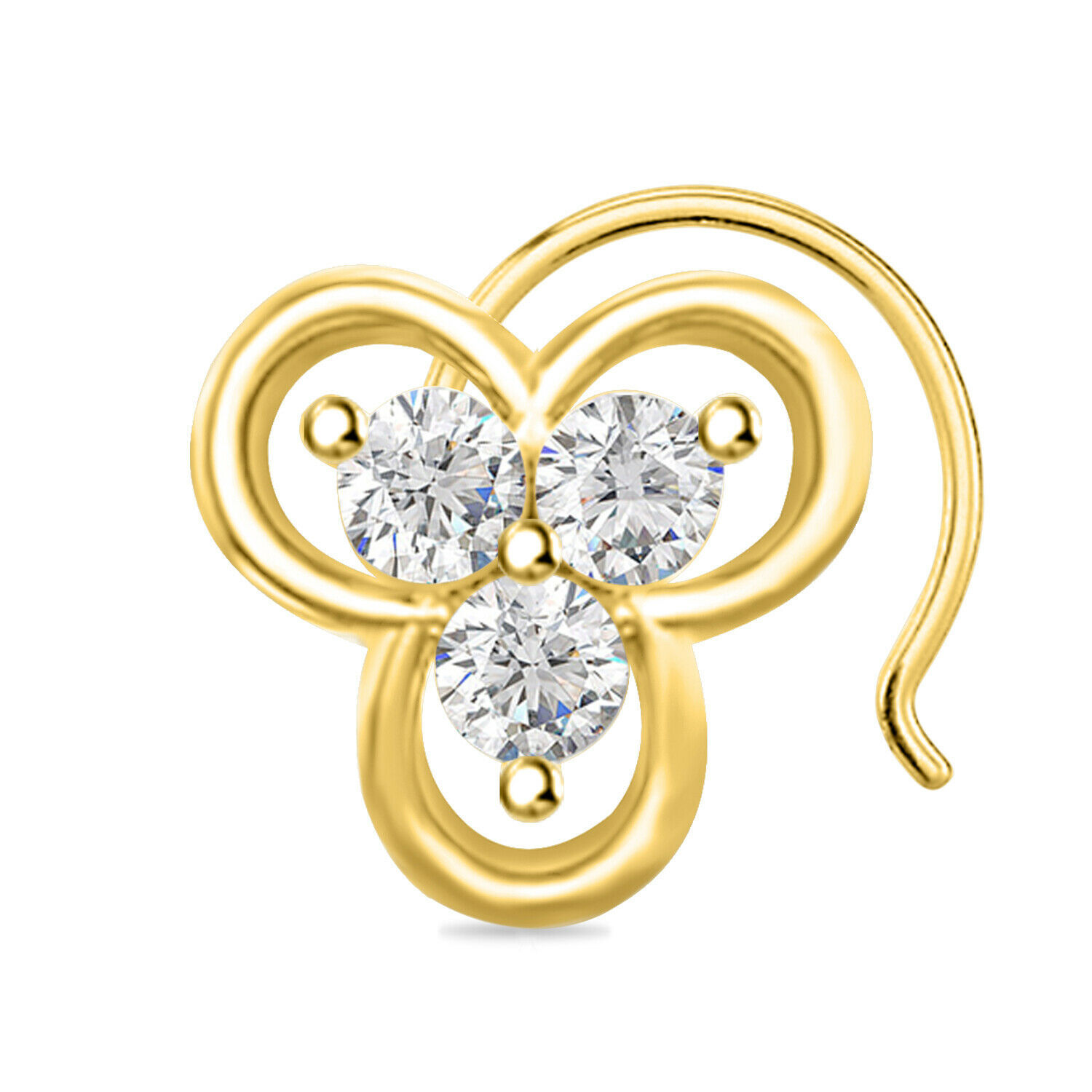 Primary image for 0.84 ct round CUt Diamond Three Stone Mouse shape Nose Pin 14k Yellow Gold Over