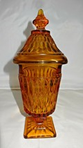 Indiana Glass Amber Mount Vernon Covered Candy Dish    - $29.00