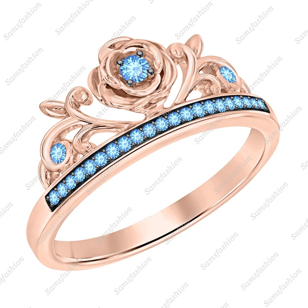 Primary image for Round Cut Blue Topaz 14k Rose Gold Over 925 Silver Rose Flower Engagement Ring