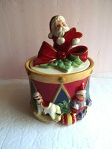 """Spode Christmas Holiday Drum with Santa Ceramic Box Container 7"""" NEW wit... - $24.99"""