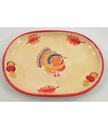 2002 April Cornell Country Cute Handpainted Turkey Thanksgiving Serving ... - $26.68