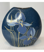Otagiri Lily Flower Pillow Vase Handcrafted Blue and Gold Japan 4 inch - $9.90