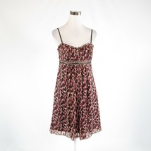 Dark brown purple geometric 100% silk BCBG MAX AZRIA empire waist dress 6 - $59.99