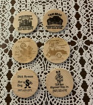 6 Wooden Nickels T and M Bear Auto Hot Dog DJ Dick Ryman For Dog Rescue ... - $6.49