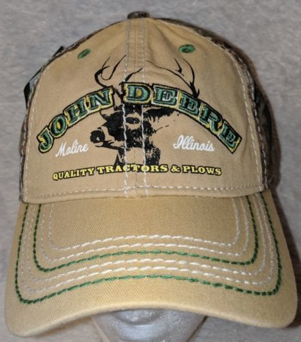 John Deere LP64489 Tan And Mossy Oak Camo Adjustable Baseball Cap
