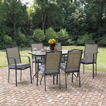 Large 7 Pieces Outdoor Patio Furniture Dining Set 1 Table and 6 Cushione... - $323.63