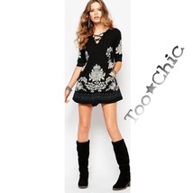 FREE PEOPLE NWT$168 Black/White FLORAL EMBROIDERED LACE-UP TUNIC MINI DR... - $109.99
