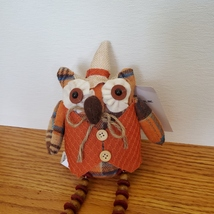 Owl Shelf Sitter, Plaid Fabric, wearing waistcoat and hat, bead legs, fall decor image 2