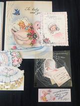 Set of 8 Vintage 40s illustrated Birth/Baby card art (Set C) image 4