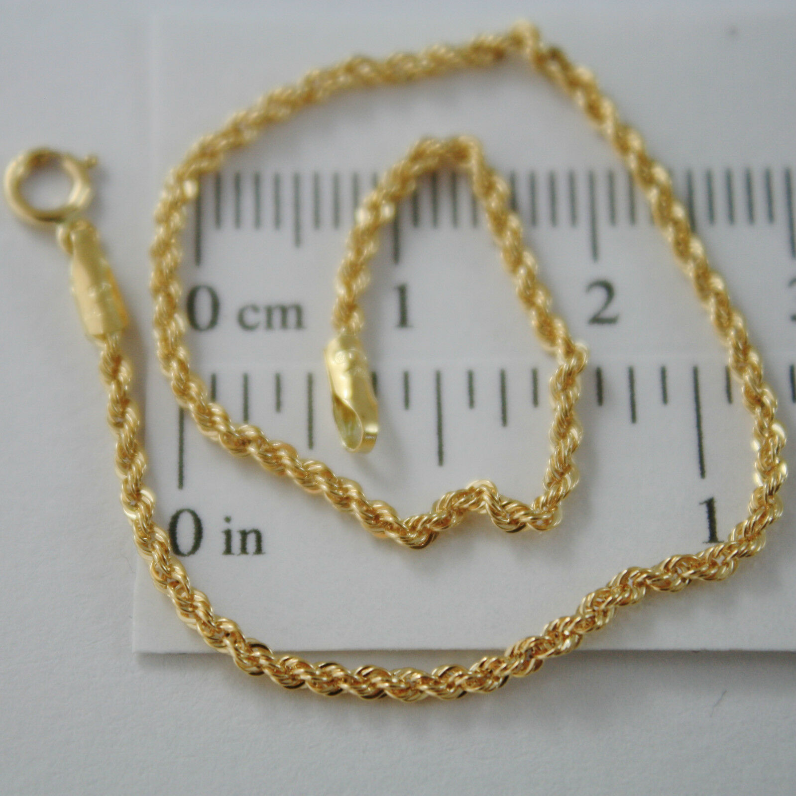 18K YELLOW GOLD BRACELET, 2 MM BRAID ROPE MESH, 7.30 INCHES LONG, MADE IN ITALY