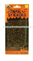 Happy Halloween 100pc Nail Stickers Stars+Skulls+Crossbones+Bats New! 2/9 - $2.98
