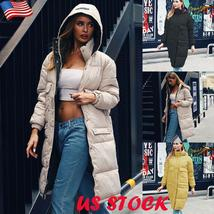 New Women's Casual Hooded Long Soft Quilted Down Zip Up Coat Outwear image 13