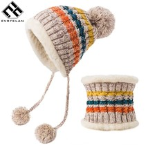 Evrfelan Colorful Winter Hat Women Pompoms Skullies  Knitted Hat Caps Ne... - $16.80