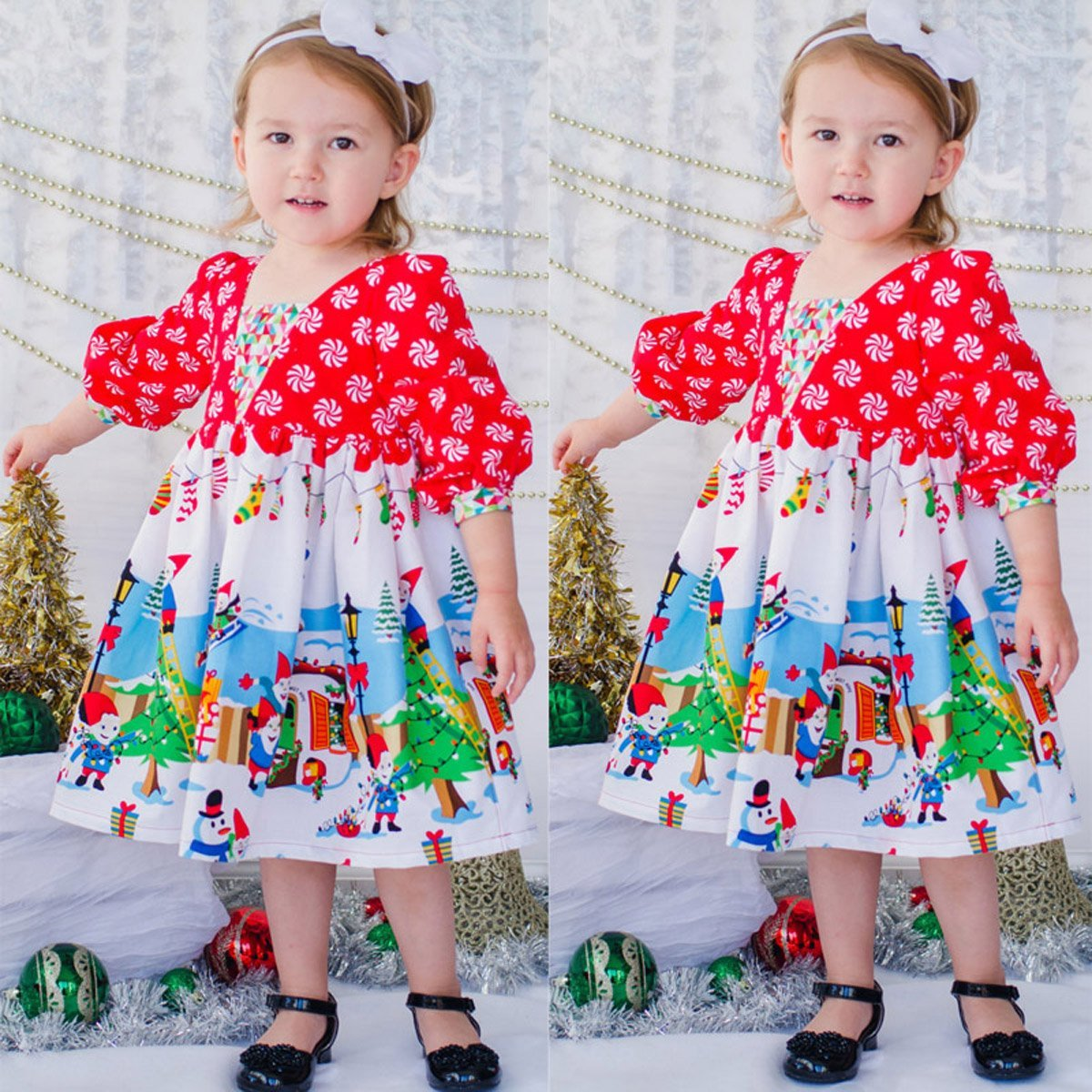 Primary image for Toddler Girls Floral Christmas long sleeve dress