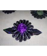 Purple Sequined Applique Flower Handmade - $4.95